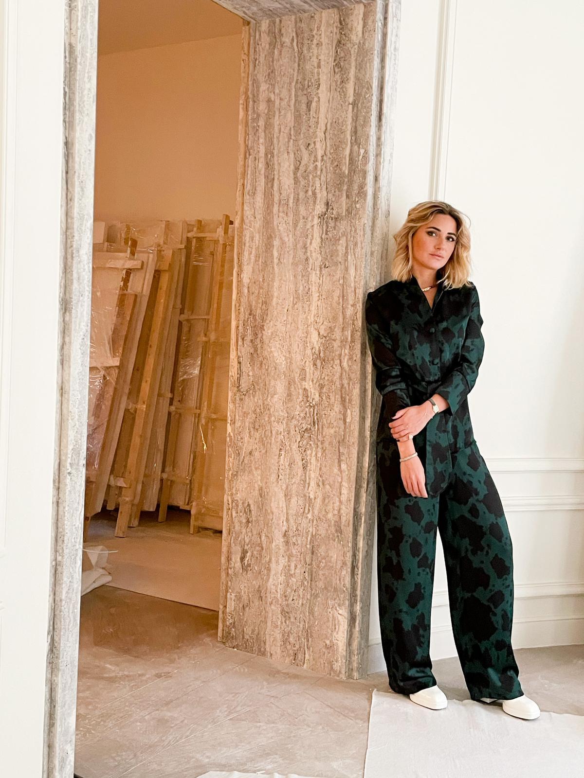 Caroline Keslassy in Diana d'Orville silk suit