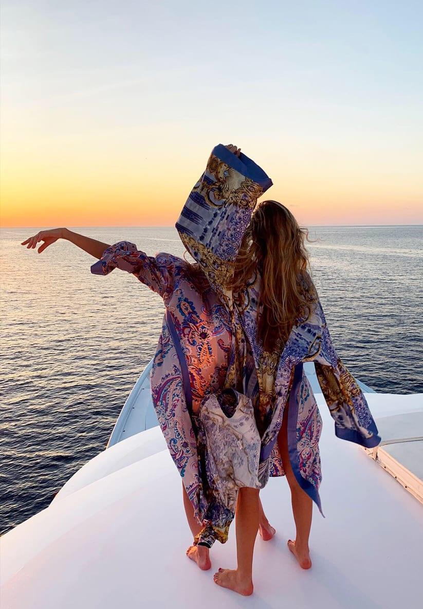 Diana d'Orville sustainable luxury - silk kimonos in the maldives