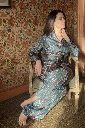 Eleonora Galasso in Diana d'Orville printed silk suit - turquoise with chain-inspired prints