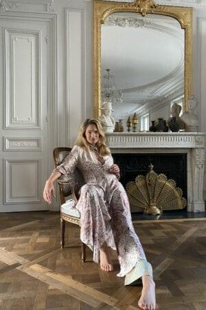 German Model Birte Carolin wearing Diana d'Orville silk gown in Paris