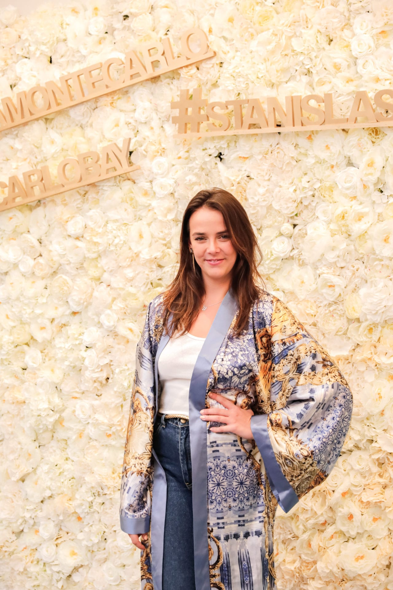 Monaco Princess Pauline Ducruet wearing Diana d'Orville sustainable luxury silk kimono at Influencers Awards Monaco brunch