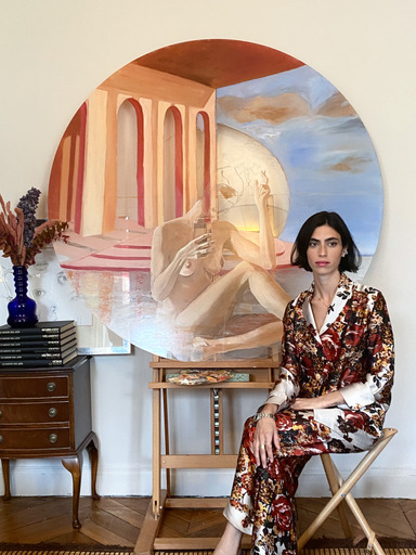 Roman artist Malu dalla Piccola in Diana d'Orville in red & ivory printed silk suit