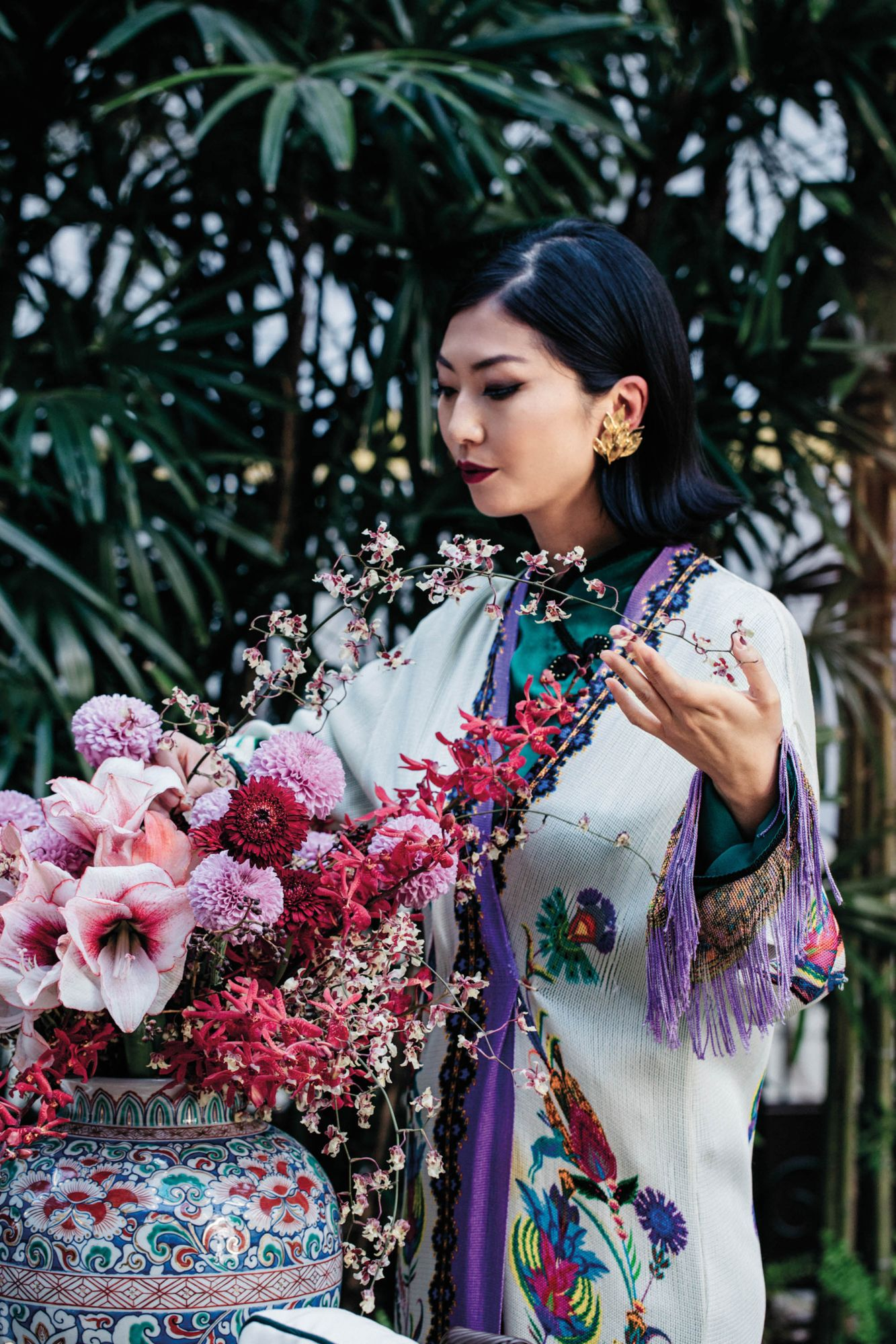 Laura Cheung for Tatler HK Chinese NY in Diana d'Orville printed silk suit