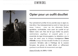 Diana d'Orville sustainable luxury brand in l'Officiel Paris