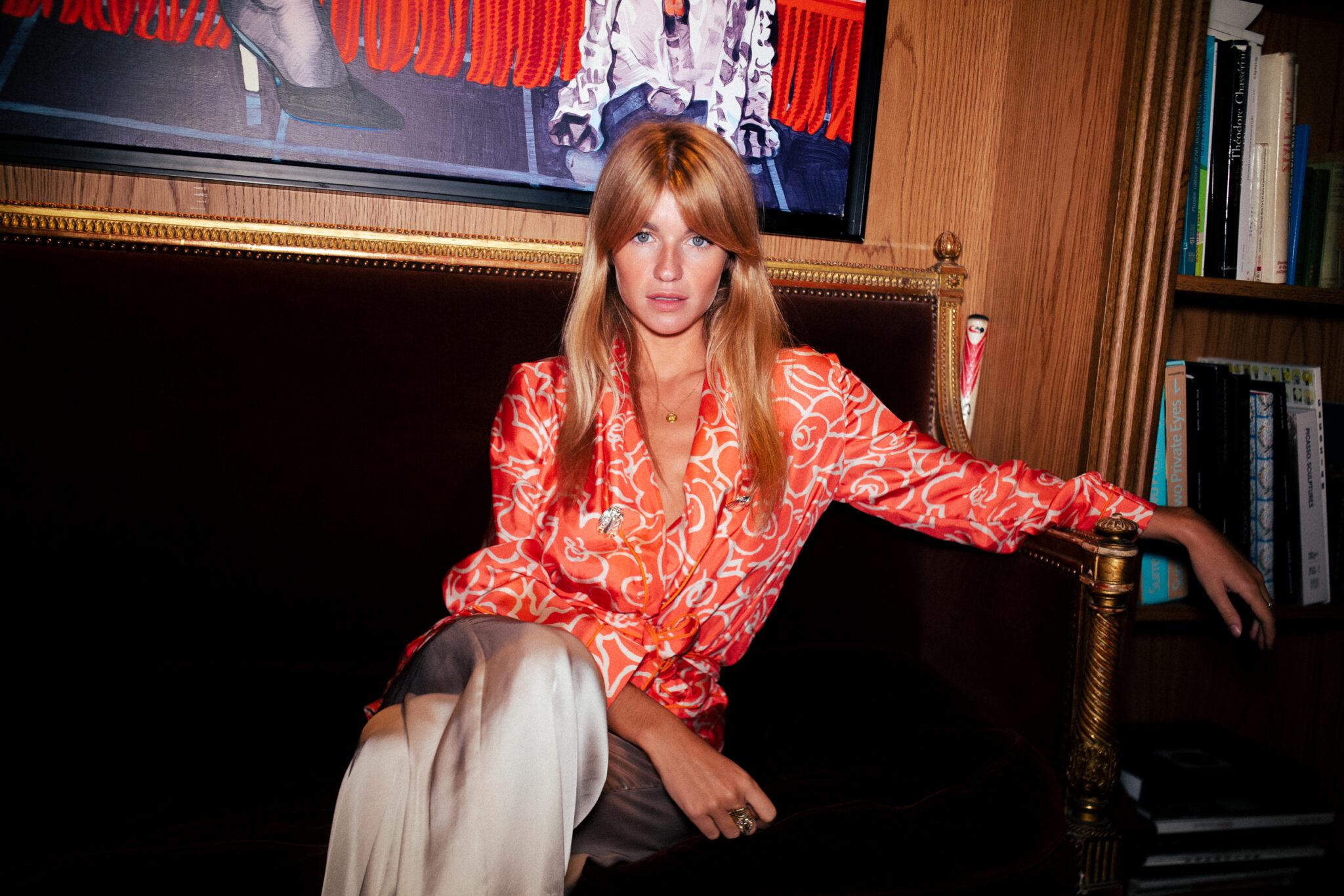 Constance Arnoult in Diana d'Orville luxury silk suit- Sam Richon Paris Fashion Week