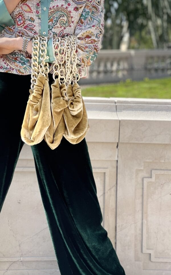 Golden silk velvet pouch qwith gold chains and printed colorful silk lining inside