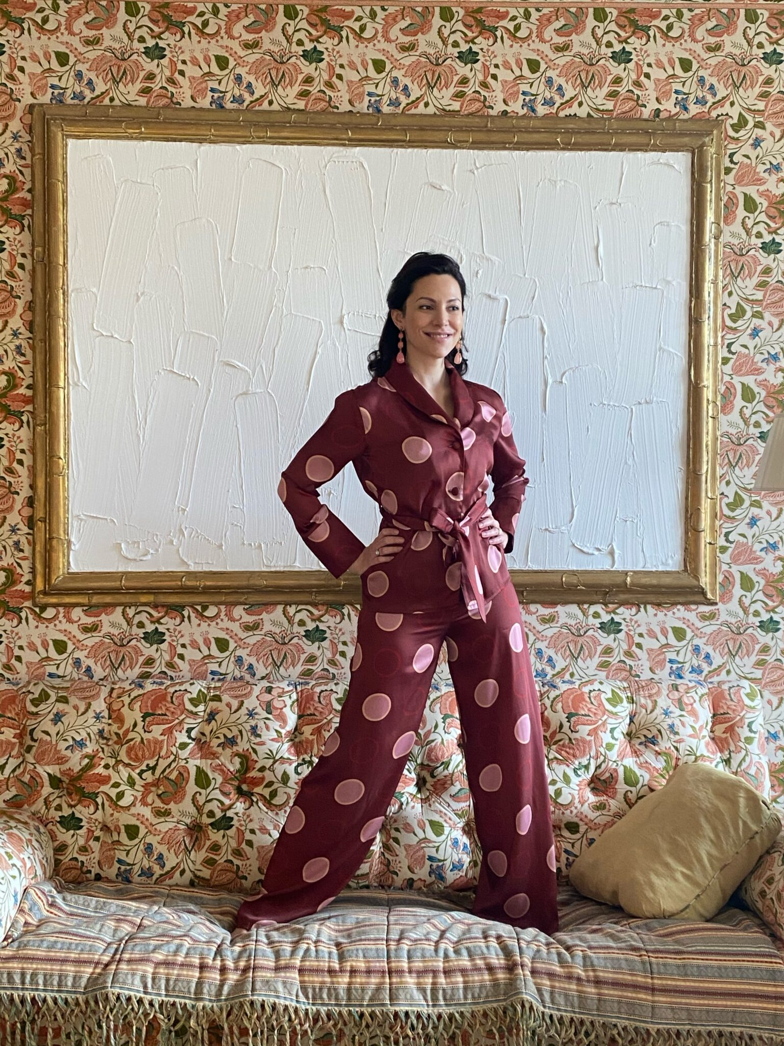 Eleonora Galasso in Diana d'Orville silk suit with geometric pink & burgundy prints