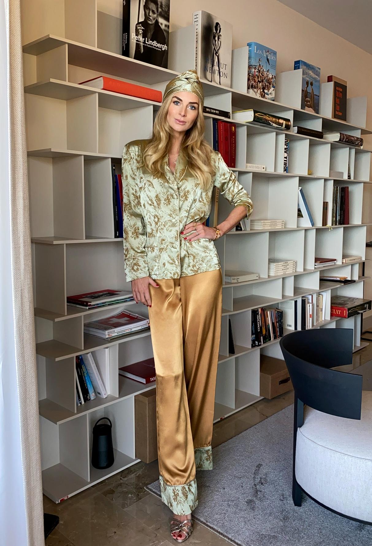 Elin Frestad in Diana d'Orville luxury silk suit - bronze & turquoise luxury loungewear