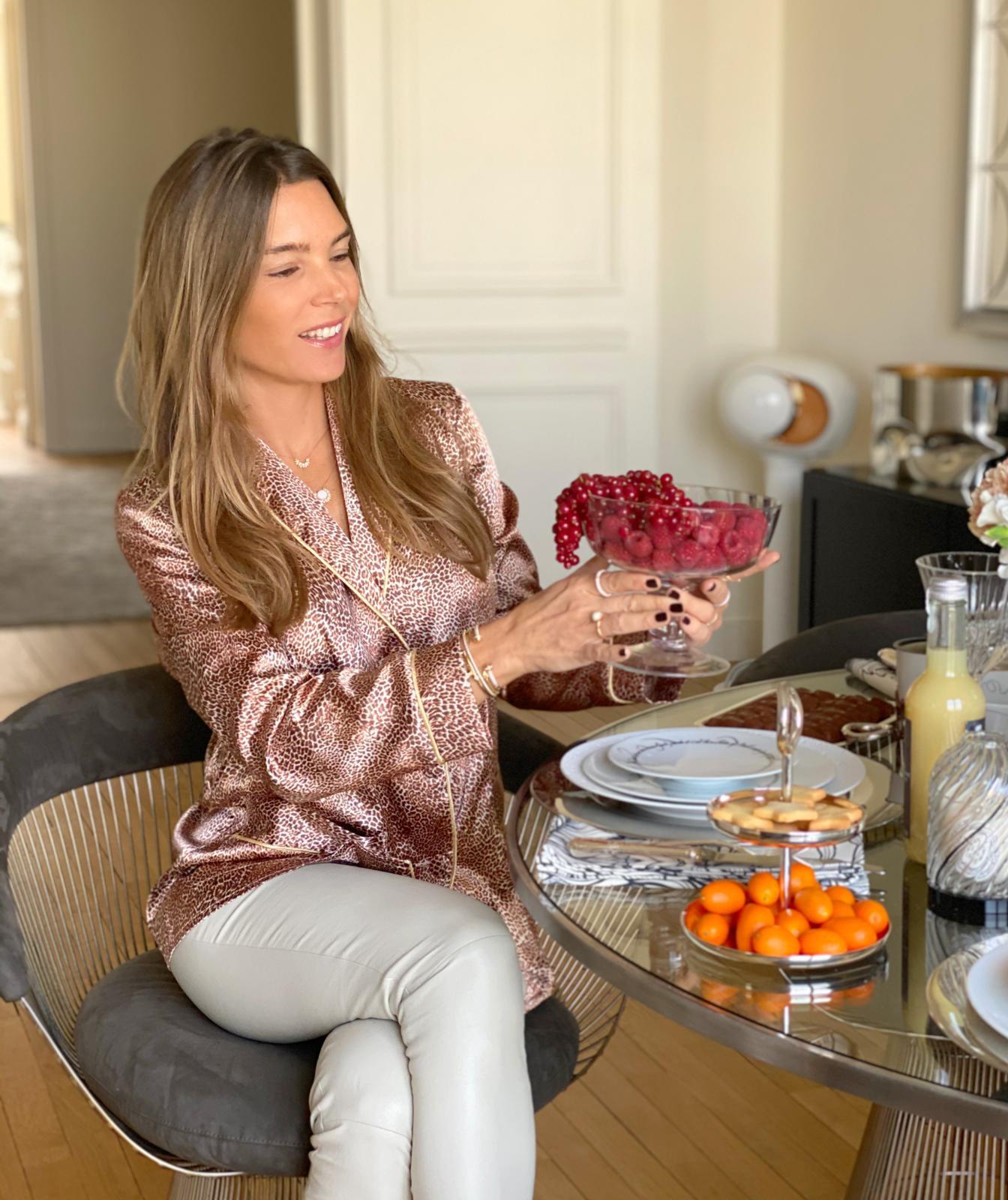 Juliette Longuet in Diana d'Orville luxury leopard silk suit