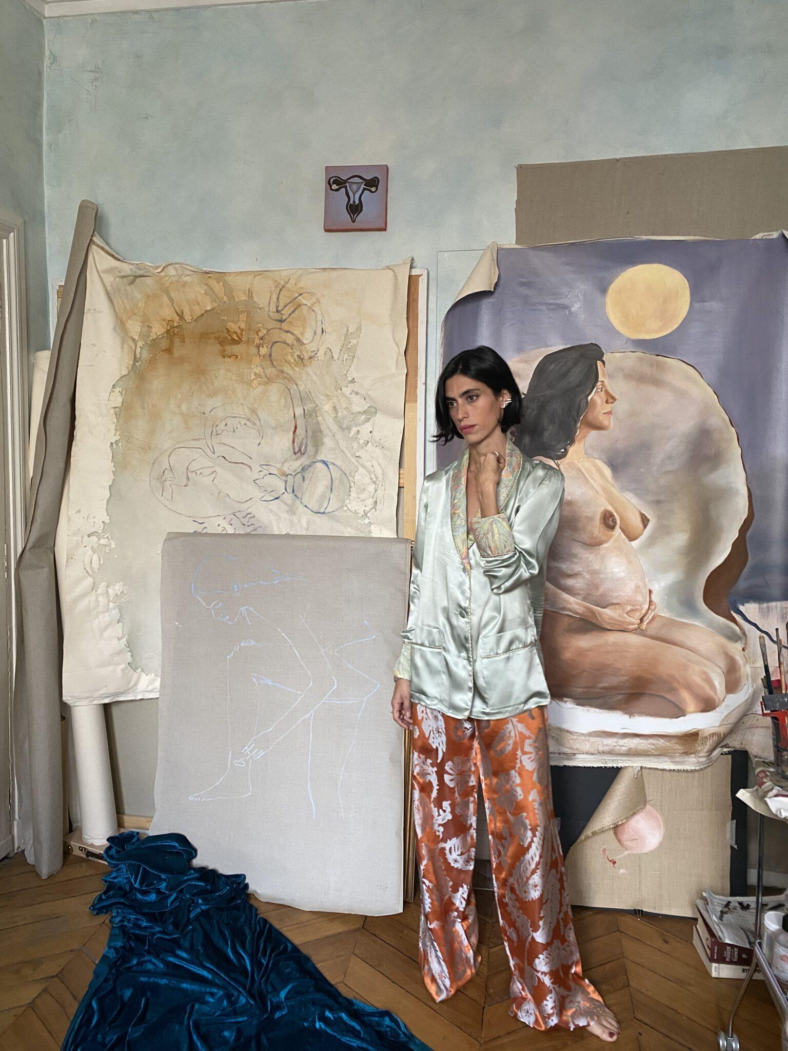 Roman artist Malu dalla Piccola Diana d'Orville luxury silk suit turquoise & orange