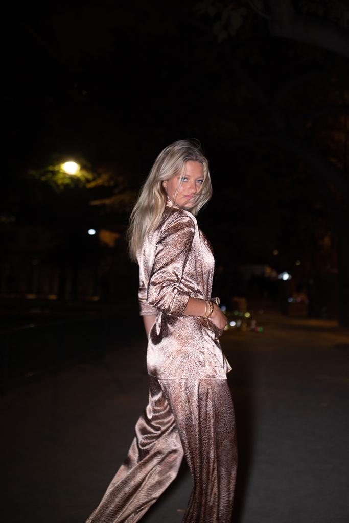 PFW Sixtine Saldmann in Diana d'Orville luxury silk leopard suit Sam Richon