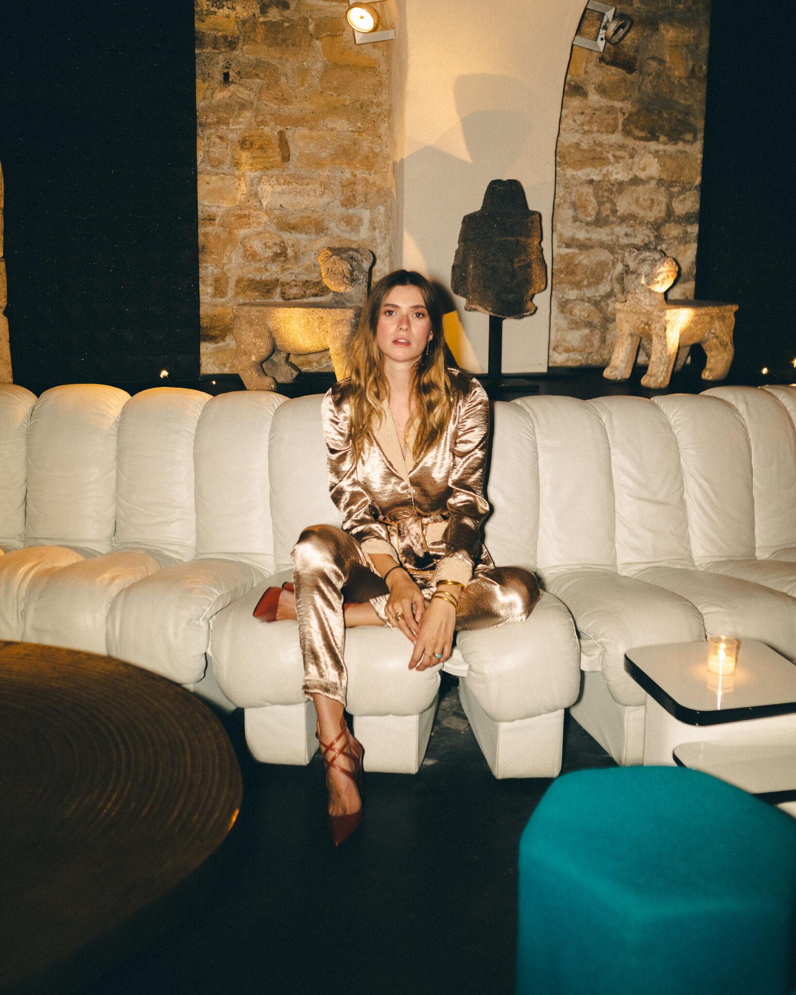 Zita d'Hauteville in Diana d'Orville luxury pale pink silk suit at Paris Fashion Week by Sam Richon