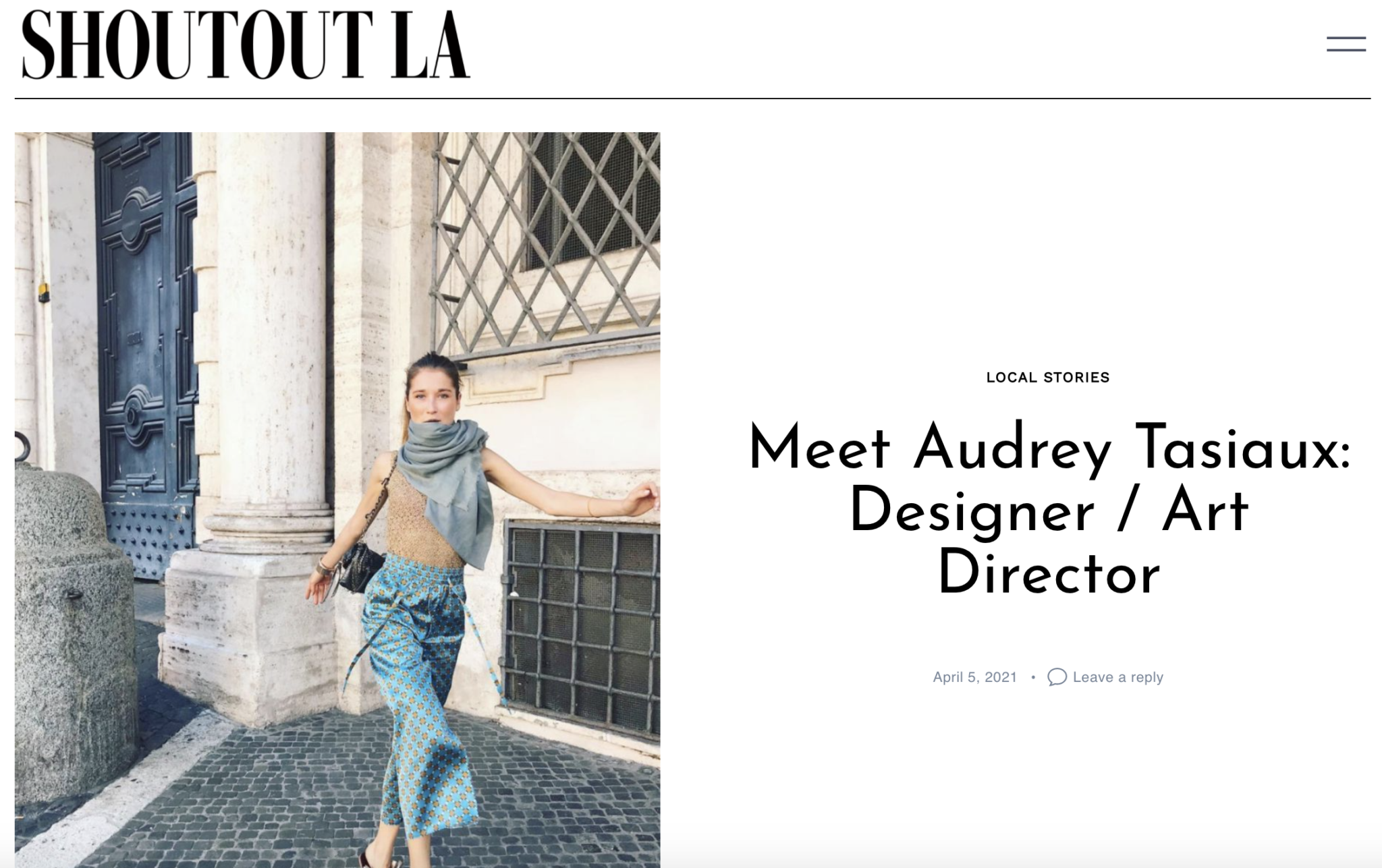 Sustainable luxury fashion designer Audrey Tasiaux interview for Shoutout Los Angeles Magazine