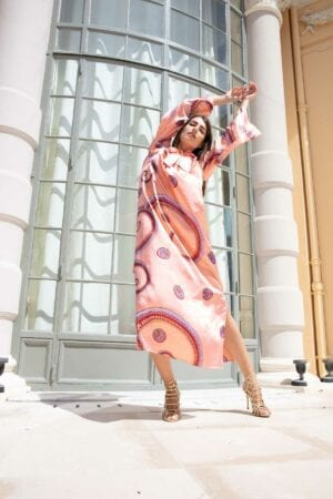 Diana d'Orville luxury caftan in salmpon & graphic geometrical prints