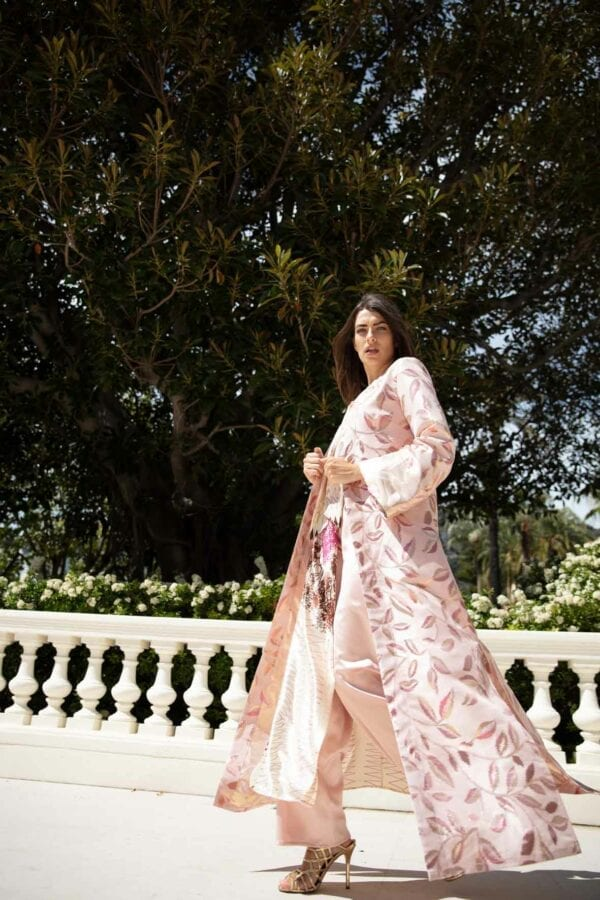 Diana d'Orville Luxury Couture gown made on the French Riviera from haute-couture fabrics