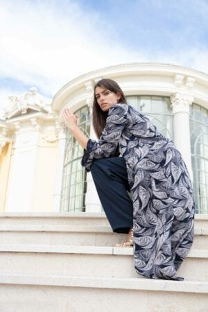 Diana d'Orville luxury gown geometrical navy & white prints