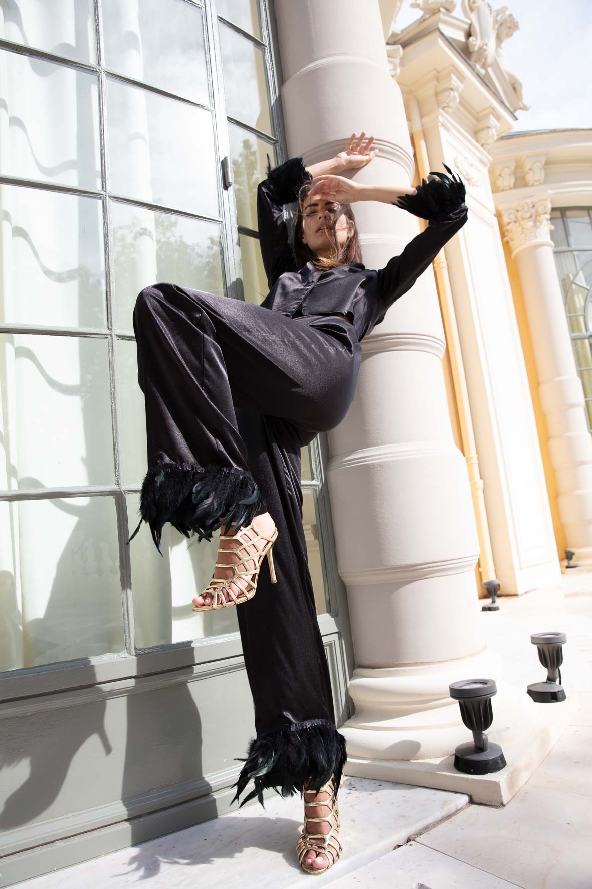 Diana d'Orville sustainable luxury signature silk palazzo suit
