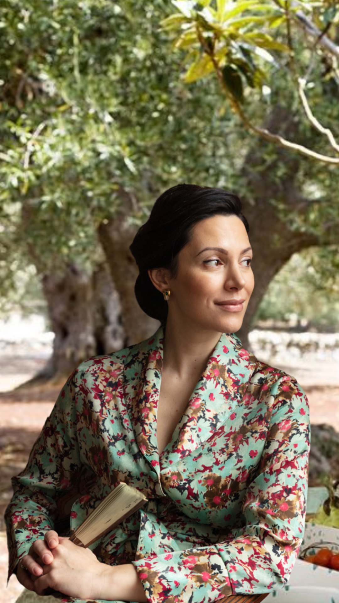 Eleonora Galasso wears Diana d'Orville couture silk liberty prints sustainable luxury suit